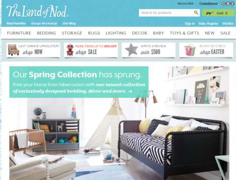 Magazine-Modeled Shopping Sites - The Land of Nod Provides Products Perfect for a Kid-Friendly Home