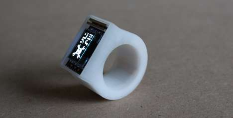 3D-Printed Smart Wearables - Arduboy's Ö Bluetooth Ring Boasts a Digital Clock Display