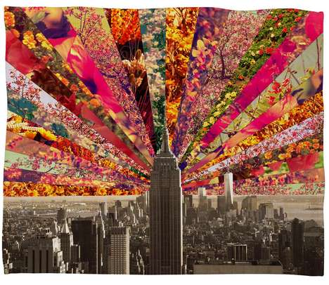 Blooming Skyline Decor - Deny Design's Printed Fleece Blanket is Vibrantly Hued