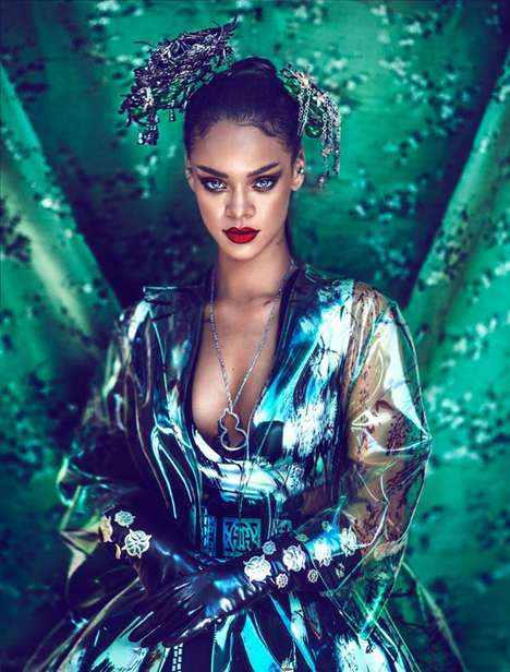 Oriental Songstress Editorials - The Rihanna Harper's Bazaar China Cover Story is Culturally Styled