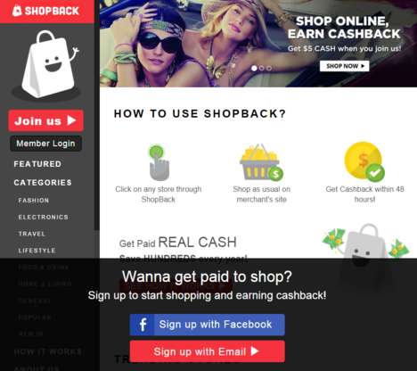 Cashback Shopping Platforms - Shopback Trades Purchases Made Through Its Site for Money