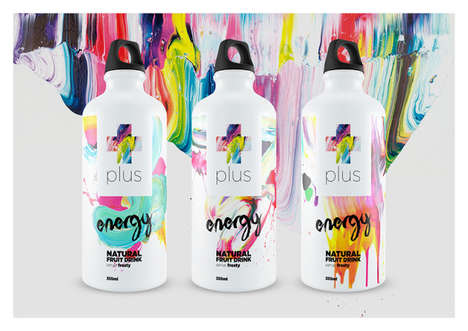 Painterly Drink Packaging - Energy Drink Water Bottles Exude an Air of Value Surrounding the Product