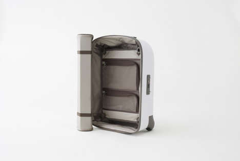 Efficient Folding Suitcases - Nendo Kame Luggage Has a Flexible Fabric Cover That Simply Rolls Aside