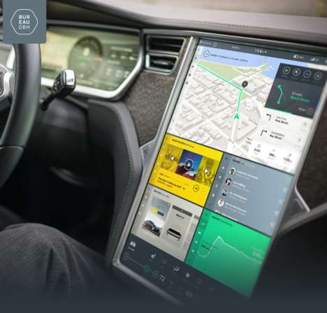 Interactive Car Interfaces - Bureau Oberhaeuser Designs a Modern Infotainment System for Tesla