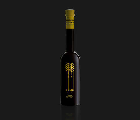 Abstract Moroccan-Inspired Packaging - Karia's Gorgeous Olive Oil Label Features a Geometric Pattern