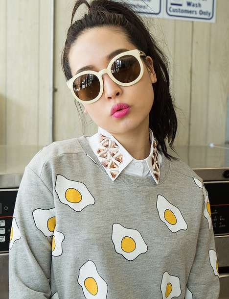Graphic Breakfast Fashion - Pixie Market's Egg Sweatshirt is Playful and Eye-Catching