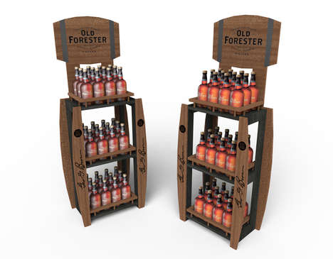 Artisanal Alcohol Kiosks - This Old Forester Retail Display is Designed to Prevent Theft