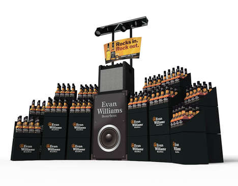 Concert-Themed Whisky Displays - This Evan Williams Amp Stand is Inspired by the Brand's Slogan