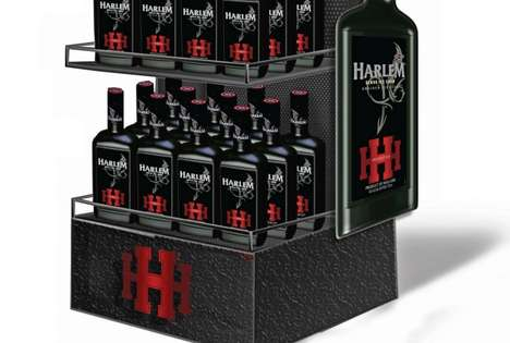 Masculine Liqueur Displays - Harlem Kruiden Is Showcased in a Dark and Industrial Shelving Unit
