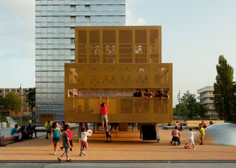Geometrical Public Playgrounds - This Metal-Clad Playground Structure Boasts a Built-In Trampoline
