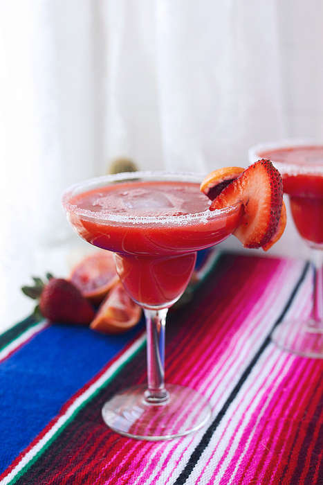 Seasonal Margarita Recipes - This Colorful Strawberry and Blood Orange Margarita is Very Vibrant