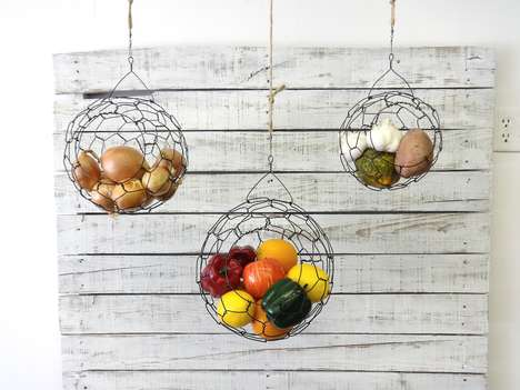 Suspended Fruit Baskets - These Hanging Wire Baskets Save Space While Looking Chic