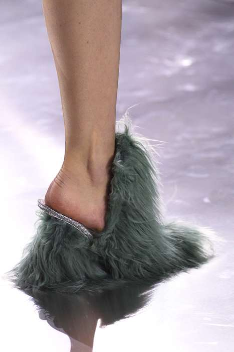 Shaggy Heeled Footwear - The Maison Margiela Furry Heels Channel 'Cousin It' From the Adams Family
