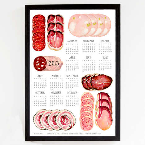 Carnivore-Approved Calendars - Drywell Art's Salumi Wall Calendar is a Meat Lover's Dream