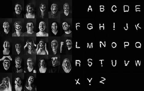 Emotional Font Photography - Human Type by Beatrix Gevigney is Inspired by Different Expressions