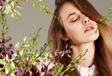 Floral Beauty Editorials - Grazia Germany's Andria Exclusive Boasts Fresh-Faced Cosmetics