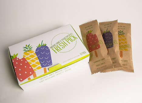 Eco Popsicle Packaging - Vegetable and Fruit Treats are Wrapped in Green, Recyclable Sleeves