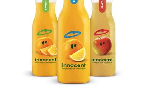 Immaculate Beverage Marketing - Innocent Juices Were Rebranded with Decluttered and Haloed Fruits