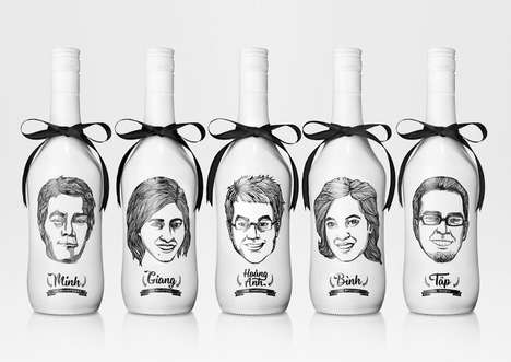 Rum Bottle Portraits - Loyalty Gift Packaging Features Clients' Faces Illustrated onto Vessels