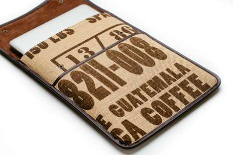 Burlap Sack Laptop Sleeves - The Computer Accessories are Made From Upcycled Coffee Bags and Leather