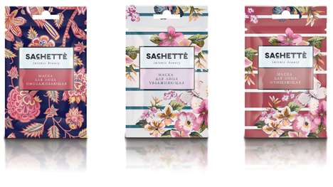 Patterned Cosmetics Sachets - Beautiful Skin Care Samplers Facilitate Facial Treatments On the Go