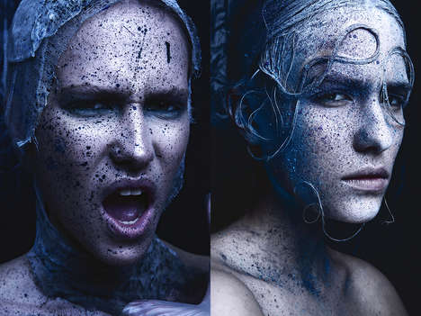 Textured Beauty Portraits - Glassbook Magazine's 'Faces of Texture' Story Boasts Artistic Makeup