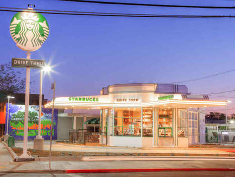 Renovated Retro Drive-Thrus - A Hollywood Starbucks Location Takes Over a 1930s Gas Station