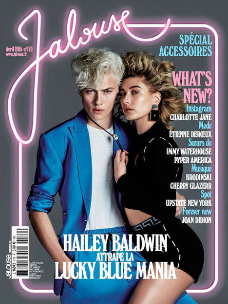 Nostalgic Lover Photography - Hailey Baldwin and Lucky Blue Smith Front Jalouse Magazine's Cover