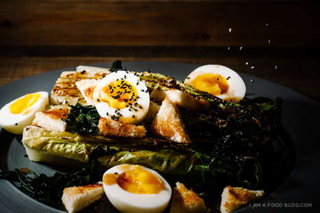 Charred Lettuce Salads - This Grilled Romaine Salad Recipe is Infused with Fresh Eggs