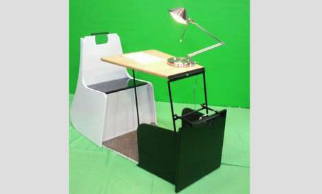 Compact Towable Workstations - Rolling Desk Can Be Pulled Like Luggage or Linked as a Bike Trailer