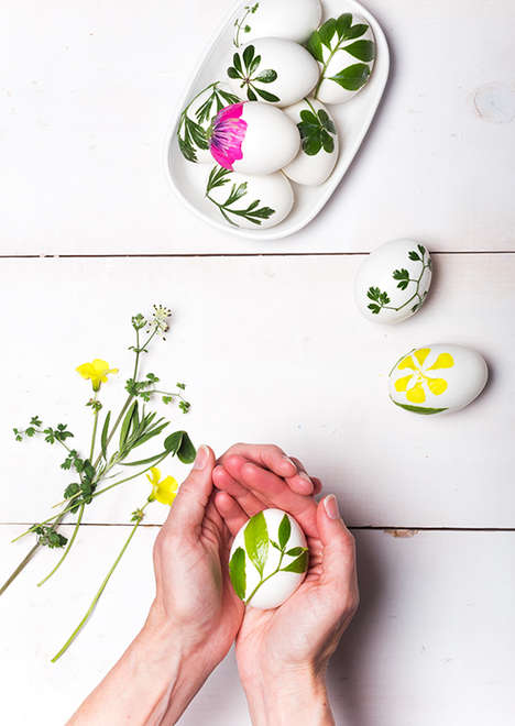 Leafy Easter Egg Art - Say Yes Blog's Foliage Easter Eggs are Inspired by Nature