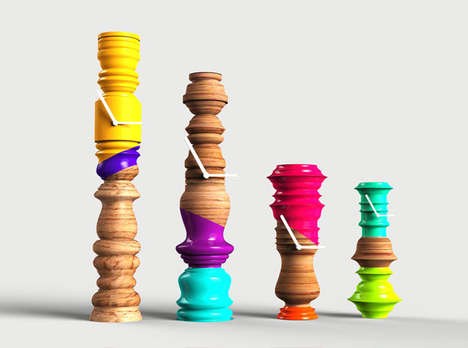 Painted Pillar Clocks - The Fate Wooden Clock Series Was Inspired by Eccentric Indian Architecture