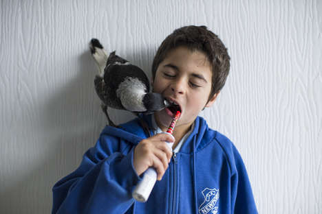 Bird Friendship Photography - Cameron Bloom Captures the Adorable Relationship Between Boy and Bird