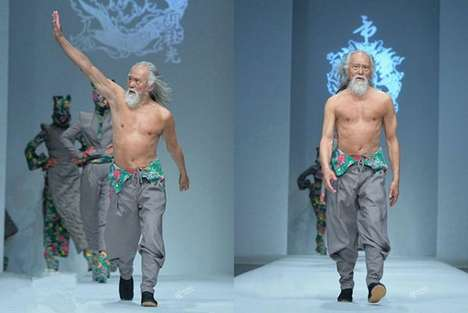 Youthful Senior Models - 79-Year-Old Wang Deshun Walks Down Designer Sheguang Hu's Runway
