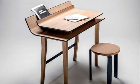 Layered Lumber Desks - The Sheet Table is an Elegant Workstation with Beautifully Stacked Surfaces