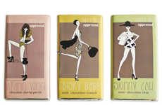 Fashionable Candy Bars - Skinny Chocolates Are Dressed in Stylish Sketches to Appeal to Modern Women