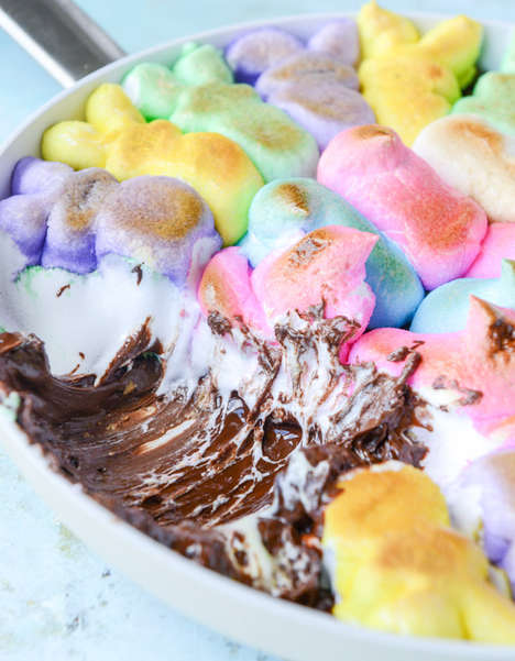 Marshmallow Skillet Treats - This Easter Dessert Recipe is a Chocolate Peanut Butter Peeps S'more