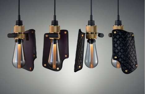 Holstered Ceiling Lights - Buster Bulbs Take Ultra-Modern Teardrop Shapes with Luxe Leather Shades