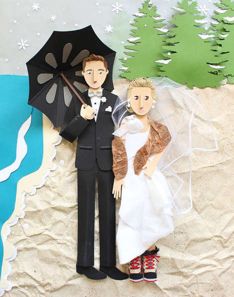 Paper Wedding Portraits - Brittani Rose's Artistic Wedding Decorations Feature Custom Detail