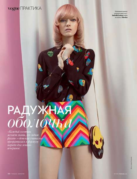 Psychedelic 60s Editorials - Vogue Ukraine's Kasia Jujeczka Story Features MOD Fashion Staples