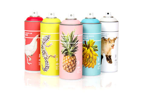Pictured Spray Paint Cans - Concept Packaging for Krylon Features Photographic Symbols of Hawaii