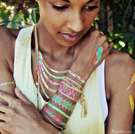 Temporary Friendship Bracelets - Flash Tattoos Creates Beautiful Body Art Full of Vibrant Colors