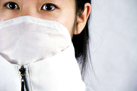 Pollution Protection Garments - This Face Mask Jacket Conceals a Breathable Barrier in the Collar