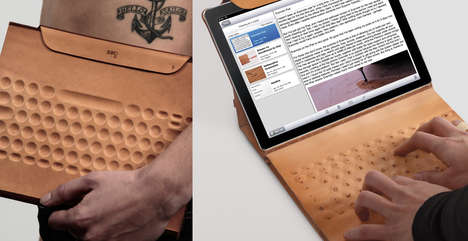 Conductive Ink Keyboards - Inko iPad Case is a Smooth Leather Tablet Accessory with Drawn Circuitry