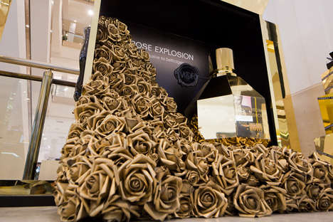 Golden Flowering Kiosks - The Flowerbomb Rose Explosion is a Perfect Perfume Retail Display