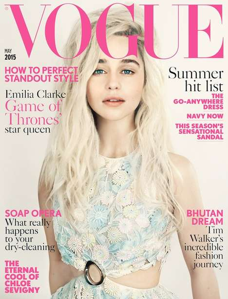 Fantasy Fashion Covers - This Emilia Clarke Vogue UK Cover is Feminine and Demure