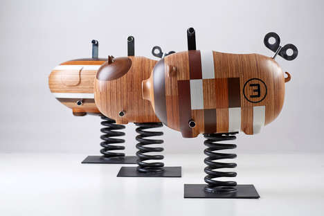 Sustainable Timber Playgrounds - These Eco-Friendly Rocking Chair Animals are Playful & Attractive