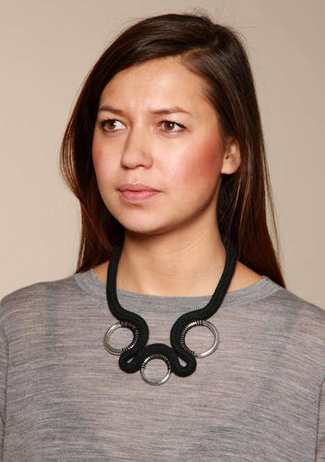 Industrial Coil Accessories - This Modern Rope Necklace Features Metallic Elements