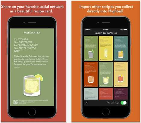 Boozy Recipe Apps - The Highball App Enables Social Sharing of Cocktail Recipes