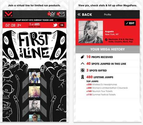 Interactive Virtual Lineups - The Virgin Mega App is a Hype Machine for Limited Releases